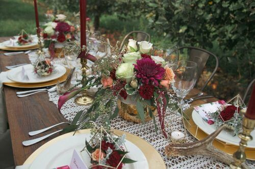 Wedding Tablescape Boho Orchard