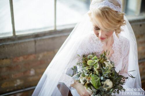 Bride with Veil. Photo credit: The Modern Lovebird